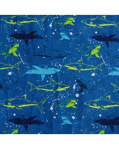 Jersey Stoff mit Haifisch-Motiv in blau und neongrün für Kinderklamotten (T-Shirts, Hoodies) und Unterwäsche.