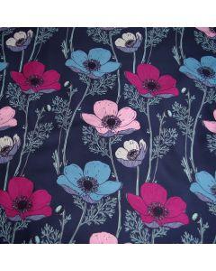 Dunkelblauer French Terry Stoff mit grossen Blumenmotiven in rosa, magenta und himmelblau für Kleider und Pullis