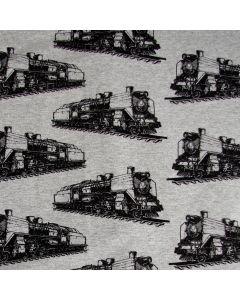 Bielastischer, nicht angerauter Sommersweat - French Terry Stoff in graumelange mit Eisenbahnmuster (Zug Muster) in schwarz