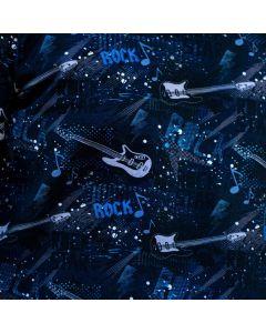 Weicher, bielastischer French Terry Stoff i Blautönen mit Gitarrenmotiven und 'Rock'-Aufschrift - die Rückseite des Stoffes ist unangeraut.
