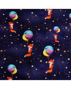 Bielastischer jersey Stoff in dunkelblau mit Sternchen und Fuchsmuster - der perfekte Stoff für Pyjamas.