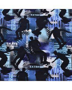French Terry - Sommersweat Stoff in Blautönen mit Skateboarder-Muster für Buben- und Männerbekleidung.