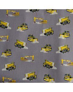 Leichter Stoff aus 100% Baumwolle in hellgrau mit gelb-grauen Bagger- und Lastwagenmuster für Kinderbekleidung und Deko.
