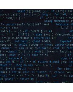 Lässiger Jersey Stoff in dunkelblau mit Musterung in hellblau und hellgelb. Die Musterung besteht aus verschiedenen Commands der Programmiersprache C++.