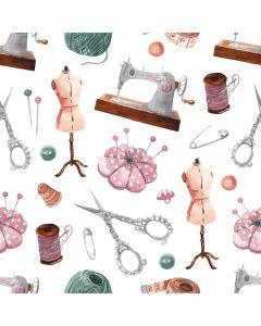 Mittelstarker Canvas Stoff in lime mit diversen Muster, die mit Nähen und Stricken zu tun haben: Stricknadeln, Knöpfe, Garn; usw. Der Stoff ist perfekt für Deko, Abdeckungen, Trennwände; usw.