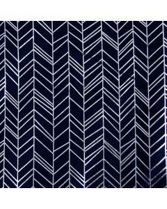 Weicher, Foliendruck-Jersey Stoff in dunkelblau mit glänzendem Druck in silber für Oberbekleidung und hautenge Kleidung.
