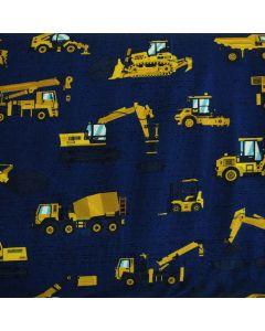 Bielastischer Jersey Stoff aus Baumwolle mit Lastwagen- und Baggermuster für trendige Kinderbekleidung und Unterwäsche.