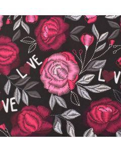 Softshell Stoff 'Love' mit Blumenstickerei-Muster