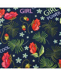 Warmer Softshell Stoff für Jacken und Taschen in dunkelblau mit Blumenmuster und 'Girl Power' Aufschrift und antipilling Fleece Futter.  Wasserabweisend und winddicht, schön warm.