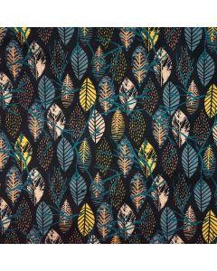 Schöner, eher dezenter Softshell Stoff in dunkelblau mit Blattmuster in retro-Farben (ocker, lachs, beige). Der Stoff ist perfekt für Softshell-Jacken, Taschen, Decken.