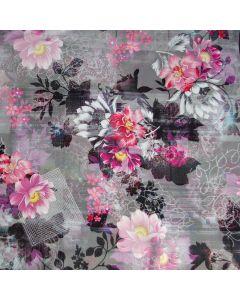 Wasserabweisender, winddichter Softshell Stoff in grau mit Blumenmuster in rosa und magenta - für Softshell-Jacken, Outdoordecken, Matschhosen.