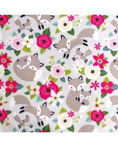 Bielastischer Jersey Stoff in mint mit süssen Fuchs-Motiven für Bekleidung und Unterwäsche.