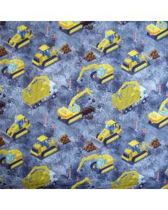 Grauer Softshell Stoff mit Bagger- und Lastwagen-Muster