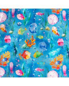 Weicher, mittelschwerer French Terry Stoff in blau mit Fisch-, Korall- und Meerestier-Muster