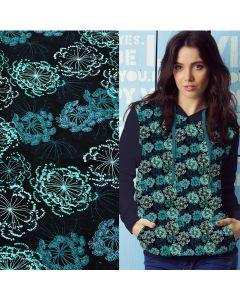 Jersey Stoff 'Make a Wish' mit Pusteblume-Motiven in weiss-hellrosa. Der Stoff ist Jersey aus Baumwolle - ideal für Bekleidung und Unterwäsche.