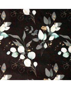 Warmer Softshell Stoff in altrosa für Jacken und Taschen mit rosa Kirschblüten-Muster und antipilling Fleece Futter.