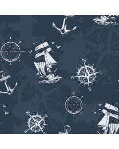 Lässiger Softshell Stoff in dunkelblau mit Segelschiff- Kompass- und Anker-Motiven in mitternachtsblau und offwhite - der Stoff ist perfekt für Softshell-Jacken, Taschen, Matschhosen, Outdoor-Decken.