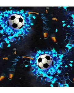 Lässiger softshell Stoff in dunkelblau mit Fussball- und Fussballspieler-Muster in blau und schwarz-weiss. Der Stoff ist perfekt für Jacken, Matschhosen, Taschen, Decken; usw.