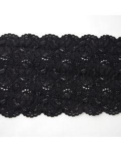 Blickdichtes, längselastisches Spitzenband in schwarz mit beidseitigen Bogenkanten