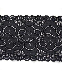 Blickdichtes, längselastisches Spitzenband in schwarz mit beidseitigen Bogenkanten - 17cm breit.