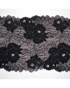 Elastische Spitze - Spitzenband in schwarz - 22cm breit
