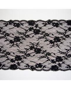 Elastische Spitze - Spitzenband in schwarz - 19cm breit