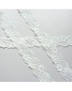 28 mm breites Spitzenband in ecru für Bekleidung. Elastisch. Tolle, angenehm weiche Qualität, auch für Unterwäsche bestens geeignet.