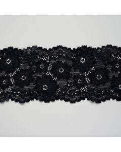 Elastische Spitze in schwarz - 6cm breit