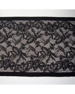 Elastische Spitze - Spitzenband in schwarz - 23.5cm breit