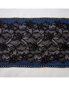 Elastische Spitze in schwarz mit schwarzen  Blumenmotiven und blauem Rand für Unterwäsche und hautnahe Bekleidung