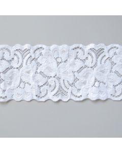 Elastische Spitze in weiss - 6.8cm breit für hautnahe Bekleidung und Unterwäsche; fürs BH-Nähen.