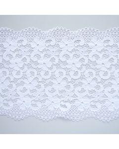 Weiche, längselastische Spitze in weiss mit zwei Bogenkanten - die Spitze ist 21cm breit, perfekt für Unterwäsche, BHs und Bekleidung.
