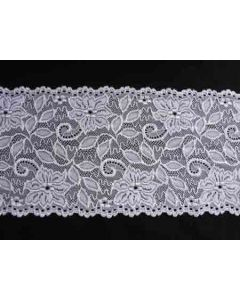 Elastische Spitze - Spitzenband in weiss - 16cm breit