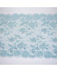 Weiche, filigrane, fast transparente, längselastische Spitze in dusty mint mit zwei Bogenkanten für Bekleidung, Unterwäsche und Deko.