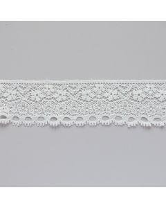 Elastische Spitze in ecru mit einer geraden Kante und einer Lochkante für Unterwäsche und Bekleidung