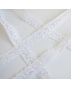 Budgetpackung elastische Spitze in weiss - 15mm breit für hautnahe Bekleidung und Unterwäsche.