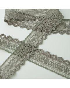 Elastische Spitze - Spitzenband in khaki - 3.5cm breit
