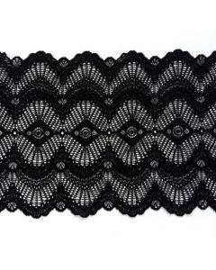 Elastische Spitze - Spitzenband in schwarz - 18.5cm breit - RESTSTÜCKE insg. 1.6m