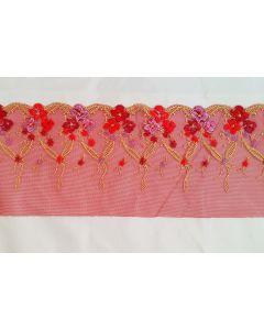 Tüllstickerei-Spitze mit Blumenmuster in rot - 15cm breit