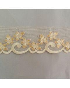 Spitze mit Blumenmuster, ecru, 4.5cm breit