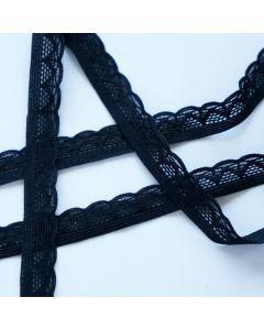 Elastische Spitze in schwarz - 15mm breit