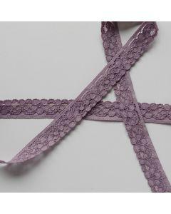Weiche, elastische Spitze in taupe mit einer geraden Kante und einer Bogenkante mit 15mm breite für Dessous und Oberbekleidung.