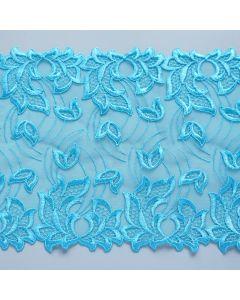 Elastische Tüllstickerei - Spitze in Aquamarine - 20cm breit