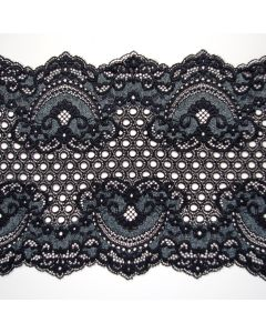Elastische Spitze in schwarz mit grauer Musterung und an Jugendstil erinnernden Ornamenten. Die Spitze ist 21cm breit.