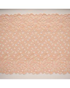 Weiche, längselastische Spitze in der Farbe Lachs für Unterwäsche, Bekleidung und Deko - 20.5cm breit.