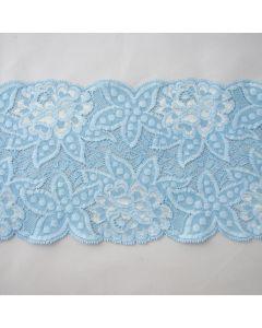 Weiche, blickdichte Spitze in hellblau mit Blumenmuster - 14.5cm breit