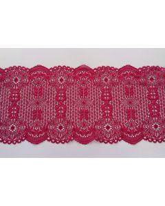 Elastisches Spitzenband, 18cm breit, Burgund