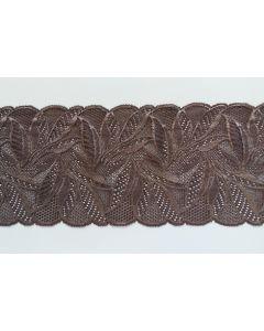 Elastisches Spitzenband, 16cm breit, braun