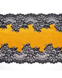 Elastische Spitze - breites Spitzenband in sonnengelb mit schwarzen Bordüre-Kanten für Unterwäsche und Bekleidung.