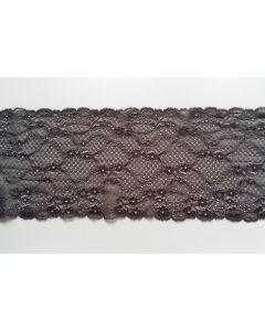 Elastisches Spitzenband, anthrazit, 17cm breit